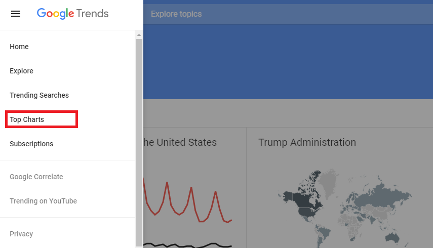 Google trends - Top charts search