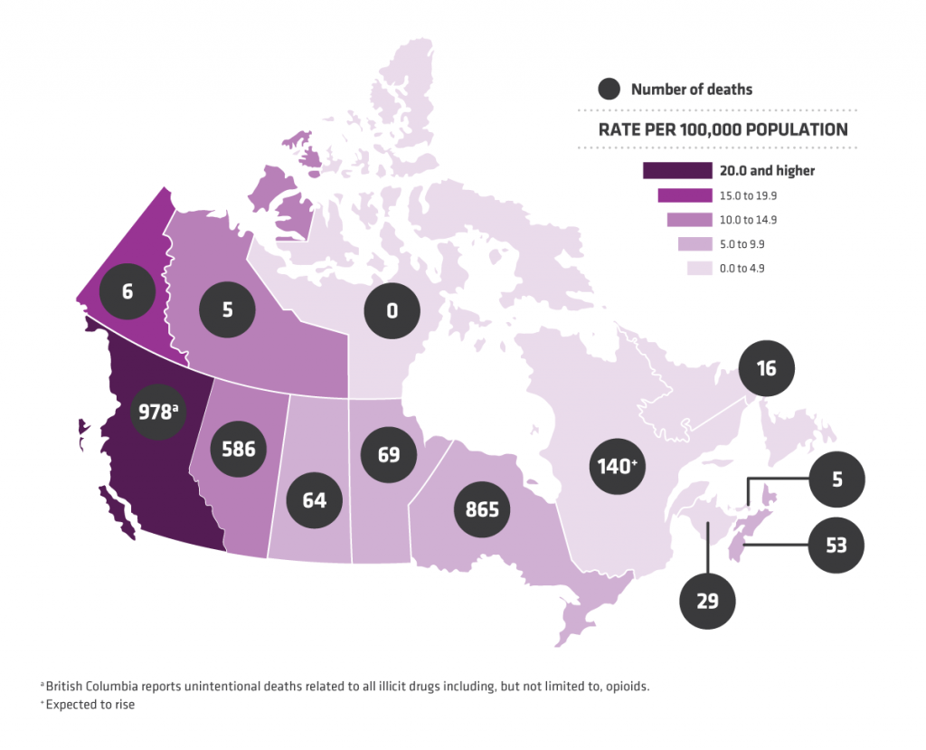 Opiod related deaths in Canada