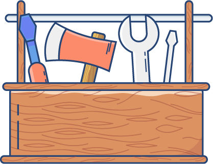 Illustration of a wooden toolbox filled with tools