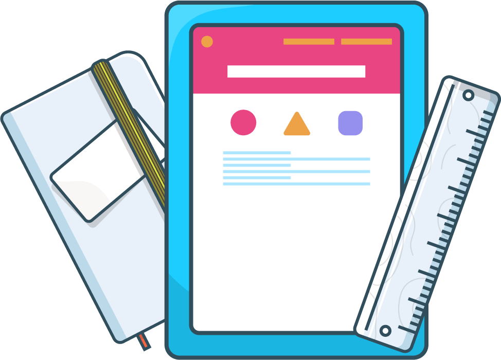 Illustration of a notebook, tablet and ruler